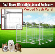 Double Room Heavy Duty Animal Enclosure Fencing Dog Space Kennel Outdoor BNE