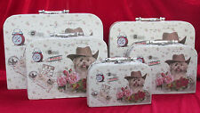5er SET Kinderkoffer aus Hartpappe mit Hund Postkartenmotiv Vintage Rosen Welpe