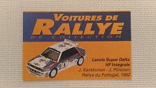 Certificat Voiture De Rallye De Collection « Lancia Super Delta HF Intégrale »TB