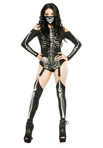 Women's Sexy Skeleton Bodysuit Costume SIZE L (with defect)