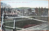 1910 Butler, NJ Postcard: Public Park & Town Hall - New Jersey