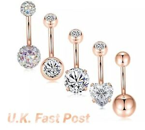 Stunning rose gold belly bar shamballa diamanté crystal Opal heart double jewel