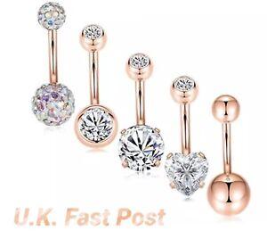 UK rose gold belly bar shamballa diamanté crystal heart double jewel glitter
