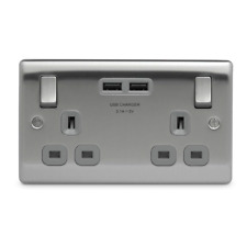 B&G NBS22U3G Brushed Steel Double Switched Socket with USB Charger - Grey