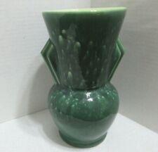 "Vintage Beauceware Quebec Canada Pottery 8"" Vase Art Deco Design Green Handled"