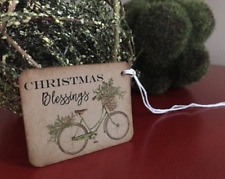 Christmas Gift Tags, Distressed, Rustic, Primitive, Vintage Bicycle, set of 12
