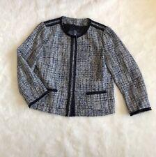 NWT Ladies Marella Blue White Tweed Blazer Size US 10 Made In Italy Reg. $450