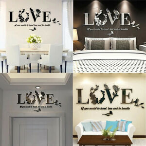 Leaf LOVE Wall Art Quotes Vinyl Wall Sticker, DIY Home Wall Decal Bedroom Decor