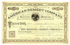 American Remedy Company. Stock Certificate. 1884