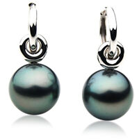 Pacific Pearls® 14mm Tahitian Black Pearl White Gold Earrings Gifts For Yourself