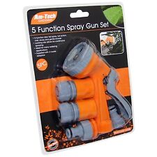 NEW 5 FUNCTION SPRAY GUN WITH 4 ADAPTORS SET FOR GARDEN HOSE AM-TECH