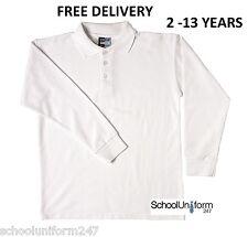 Boys Girls Kids Childrens Long Sleeve School Uniform Polo Shirts Ages 2-13+ yrs