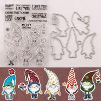 Santa Claus Gnome Clear Stamp Cutting Die DIY Scrapbooking Album Paper Card BDA