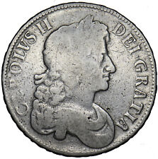 More details for 1677 crown - charles ii british silver coin