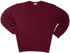 NEW Super Warm 100% Alpaca Daniel Cremieux Men's XXL 2XL Wine Red V-Neck Sweater