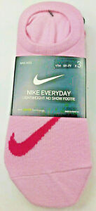 NIKE Everyday Lightweight No Show Footie /Youth 5Y-7Y 3 Pack/Pink/White/Hot Pink