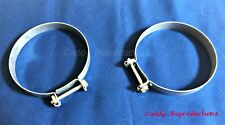 """1940 - 1966 Cadillac Fresh Air / Heater Galvanized 3"""" Duct Clamp Pair Clamps"""