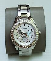 Ladies Fossil Silver Tone Crystal Accented Bezel Date Dress Watch ES-2956