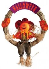 Halloween Garland with Scarecrow 30cm Straw Traditional Decoration Prop Wreath