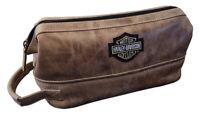 Harley-Davidson Deluxe Bar & Shield Leather Toiletry Kit, Palomino 99609-PAL