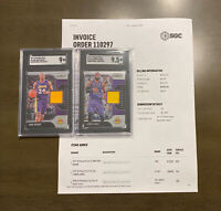 "2019-20 Panini Prizm SGC Graded Lebron & Kobe ""Sensational Swatches"" Relic Cards"