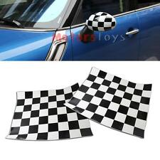 2x Checkered Pattern Vinyl Stickers For Mini Cooper Side Mirrors (Left & Right)