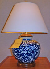 RALPH LAUREN BLUE U0026 WHITE PORCELAIN TABLE LAMP WOODEN BASE LINEN SHADE NEW/  TAGS