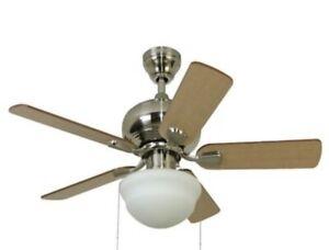 """Harbor Breeze, 42"""" Brushed Nickel LED Indoor LED Ceiling Fan w Opal Light Kit"""