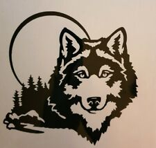 2x Wolf Moon Trees 5x5 Car Van Vinyl Sticker Decal Window Fun