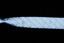 """NWT Mens ETON Tie, Gold Navy Stripes on Arctic Blue Satin Silk 3"""""""