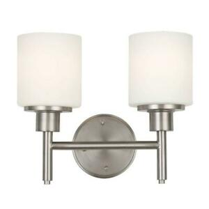 Design House Aubrey 2-Light S.Nickel Indoor Wall Mount S. w/Frosted Glass Shades