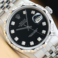 MENS ROLEX BLACK DIAMOND DIAL & PYRAMID BEZEL DATEJUST 18K WHITE GOLD/SS WATCH