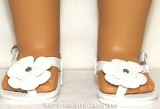 White Flower Thong Sandals 18 in Doll Clothes Fits American Girl