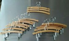 """15 Wood Pant/Skirt Hangers with Clips Lot of 7-10""""W X 8""""H 5-12""""W X 8""""H 3 No Clip"""