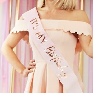 'IT'S MY BIRTHDAY!' SASH Classy Pink Ombre & Rose Gold Birthday Decorations