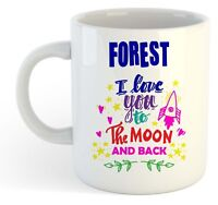 Forest - I Love You To The Moon And Back Mug Blue - Funny Named Valentine Mug