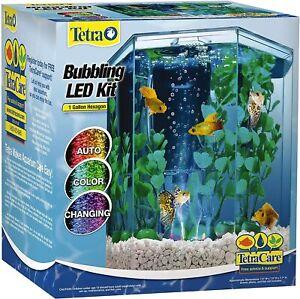 Tetra Bubbling LED aquarium Kit 1 Gallon, Hexagon Shape, With Color-Changing ...