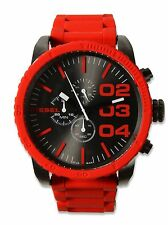 NWT Diesel Men's Red Silicone & Stainless Gunmetal Double Down 52mm DZ4289 Watch