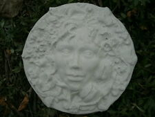 "10"" Cement Green Nature Woman Face Plaque Hanging Garden Art Decor Concrete Man"