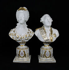 Antique French Sevres Porcelain Busts of Louis XVI and Marie-Antoinette