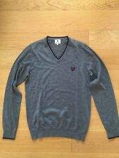 Lyle and Scott Merino Wool Long Sleeve V-Neck Jumper Size S Grey with Navy trim