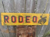 "HAND PAINTED WOOD SIGN ""RODEO"" WESTERN BRONC RIDER COWBOY RUSTIC, Cowboy sign"