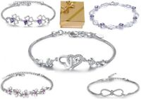 ❤️ Herz-Armband Blume Kleeblatt LOVE Infinity 925 Silber Frauen Geschenke ❤️