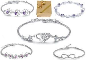 ❤️ Herz Armband Blume Kleeblatt LOVE Infinity Glück 925 Silber Damen Geschenke