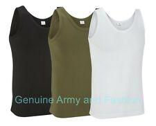 NEW COMBAT US  ARMY SINGLETS SLEEVELESS VEST TANK TOP FANCY DRESS SOLID COLOURS
