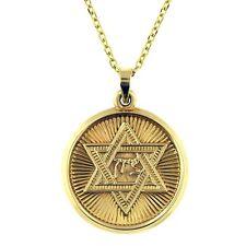 14 KT YELLOW GOLD DIAMOND CUT JEWISH STAR OF DAVID PENDANT