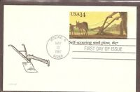 US SC # UX115 Self-Scouring Steel Plow, 1837 . Postal Card FDC. Ready for Cachet