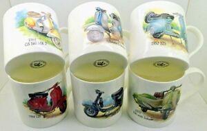 Classic Vespa's ~ SET OF 6 LARGE Bone China Mugs