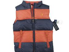 New Polo Ralph Lauren Reversible Girls Puffer Vest! 5 Orange Reverses to Stripe