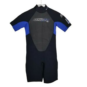 O'neil Wet Suit Youth Reactor Spring Black Blue Short Sleeve size 14